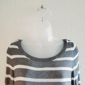 Express Sweaters - Express Grey/White Stripe Knit Long Sleeve Sweater